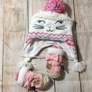 Girl Toddler Hat and Mittens ( Q2001)